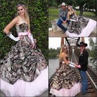 vaquero al por mayor-Hot Fashion Cowboy Country A Line Vestidos de novia de camuflaje Plisados Sexy Sweetheart Lace-up Volver Vestido de novia Pink Forro del arco Sash BA2054