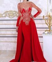 arabisches rotes kaftan kleid großhandel-Langarm Meerjungfrau Abendkleider Mit Abnehmbarem Rock Spitze Pailletten Rote Arabische Kaftan Formale Frauen Abendkleid