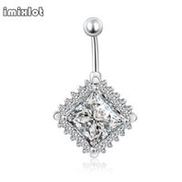 Wholesale Large Belly Button Rings - Trend Simple Women Body Jewelry Stainless Steel Large Rhombus Square Navel Piercing Sexy Belly Button Rings