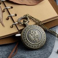 Wholesale Necklace Nurse - The Double Eagle Nurse Bronze Pocket Watch Austria National Emblem Men Women Necklace Pendant with Chain Fob Christmas Gift