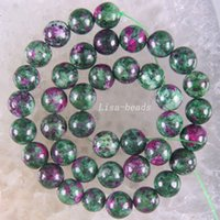 """Wholesale Ruby Zoisite - Wholesale-Free Shipping Fashion Jewelry 10MM Round Red Green Ruby Zoisite Beads Strand 15.5"""" A621"""
