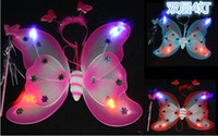 Wholesale Blue Wings Costume - Kid girls Luminous double butterfly wings costume fairy butterfly wing set wand and headband colors assorted