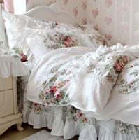 ölgemälde art bettbezug großhandel-LUXUS weiß FLORAL Hochzeit Bettset kingQUEEN Mädchen Hause süße Europa Stil Ölgemälde elegante grüne Blume Bettwäsche-Kits Baumwolle Bettbezug