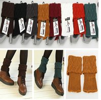 Wholesale Cuffs Red Sexy Wholesale - Newest Women Knitted Boot Cuffs Leg Warmers Foot socks boot cuff grid knit leg warmers WT20