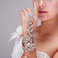 Wholesale Jewelry Ring Images - Real Image Fashion Rhinestone Bridal Jewelry Elastic Bracelet With Bracelet With Ring Hand Chain Wedding Bangles Accessories For Bride