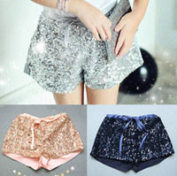 Wholesale Wholesale Sequined Elastic - 2016 NEW Kids Girls Sequins Shorts Pants Pink silver navy Summer fashion bowknot pant children's clothes