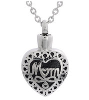Wholesale Cremation Jewelry Necklace Mom - Lily Cremation Jewelry Stainless Steel Waterproof Mom Heart Urn Pendant Memorial Ash Keepsake Pendant Necklace with a Gift Bag