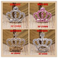 Wholesale Decorations For Iphone Button - Free shipping Sparkling Clear Crystal Rhinestone Crown Buttons Flat Back two size Decoration Buttons