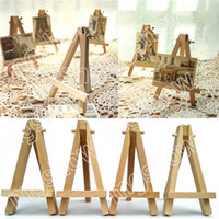 Wholesale Mini Wooden Easels Wholesale - Wholesale-10Pcs Lot Mini Display Miniature Wooden Easel Wedding Table Number Place Name Card Stand 8*15cm