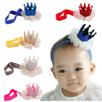 2016 Baby Kids Girls 3D Crown Headband Baby Princesse Queen Pearl Tiara Bande de cheveux Bandeau Couronne Lace Headwear