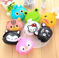 2016 New Fashion Lovely Kawaii Candy Color Cartoon Animal Femmes Femmes Portefeuille Multicolor Jelly Silicone Coin Bag Purse Kid Gift