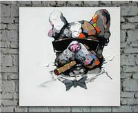 melhores pinturas artesanais venda por atacado-Artesanato Pinturas Animais Modernas na Lona Cão Fumar Legal com Óculos de Sol para Decoração de Parede Para Casa ou Melhores Presentes para As Crianças