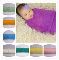 Wholesale Mohair Crochet Wrap - Newborn Knitted Photography Props Muliti 15 Colors Stretch Mohair Wrap Baby Solid Wrap Free Shipping Hot Sale