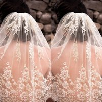 Wholesale Lace Embroidery Veil - 2015 Hot Sell Wedding Veil with Comb Custom Made High Quality Beautiful Pearls Embroidery White Ivory Short Tulle Bridal Veils