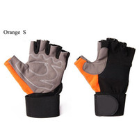 Wholesale Glove For Bodybuilding - Wholesale-Orange Weight Lifting Gloves Half Finger Fitness Training Gloves Perfect for Weightlifting Bodybuilding and Lifting Cycling Gym