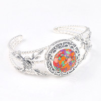 Wholesale Shiny Mosaic - Holiday Gift Shiny Crystal Fire Vintage Round Mosaic Jaspe Gemstone 925 Sterling Silver Plated Heart Bracelet Bangle Russia Bracelet Jewelry