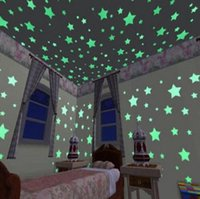 Wholesale Poster Light Box - 100pcs  set 3D stars glow in the dark Luminous on Wall Stickers for children Kids Room living room Wall Decal Home Decoration poster