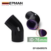 "Radiator & Parts EP-SS45RS76 1.2-2.5T EPMAN High Quality Universal 3-Ply 3"" 76mm HPS 45 Degree Silicone Elbow Coupler Hose Black EP-SS45RS76"