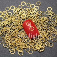 Wholesale Rhinestone 5mm - 3d nail rhinestones shape round gold nail sticker metal nail studs for nails decorations charms supplies 100pcs lot about 5mm