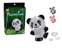 Wholesale Crystal Puzzle Flash - Wholesale-Shake Flash 3D Crystal Puzzle Jigsaw Model DIY Assembly Panda Baby Model Toy