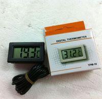 contrôleur noir achat en gros de-Mini thermomètre petit numérique LCD Combo Capteur filaire Aquarium Thermomètre Congélateur Thermomètre -50 ~ 110C Contrôleur noir