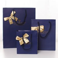 Wholesale Noble Coats - 17*22*7cm Noble Quality Bowknot Paper Gift Bag Business Gift Favors Wrapping Bag Festive Gift Package Party Supplies 20pcs lot WS084