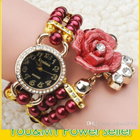 Wholesale Magnetic Clasp Mm - Brand New Trend Fashion Women's Rhinestone Quartz Watches Hand Made Pearl Wristwatch Crystal Flower Charm Magnetic clasp Watch Bracelet Rose