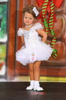 özel yapılmış kız yarışması elbisesi toptan satış-2018 Lüks Küçük Kızlar Alayı Elbiseler Princcess Sequins Boncuk Kısa Beyaz Çiçek Kız Elbise Custom Made