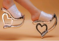 Wholesale Silver Platform Wedge Heels - Love sequins shoes Wedge slippers Women's wedges sandals party Evening shoes 15cm High Heels Sandals Waterproof shoes nightclub shoes #418