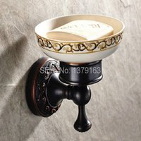 Wholesale Soap Dishes Bath - Bathroom Accessories Black Oil Rubbed Bronze Wall Mounted Bath Soap Dish Holder With Ceramic Dish Bathroom Fitting Aba 471