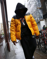 Wholesale Leather Sleeved Jackets Men - 17FW T X SUP Leather Nuptse Jacket Down Jackets Yellow Red Black Windproof Thick Outerwear Fashion Trend Down Jackets