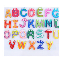Wholesale Refrigerator Letter Magnets - Wooden Cartoon Alphabet Letters Magnets Refrigerator Sticker Home Decoration Child Educational Wooden Toy Kids Christmas Gift