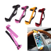 Wholesale New Car Steering Wheel Phone - Universal Mobile Phone Holder Car Steering Wheel Bracket Stands Holder for iPhone Samsung GPS 4 Colors New Arrivel