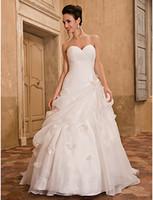 Wholesale Dramatic Train Wedding Dress - 2016 New Hot Fashion Discount High Quality Free Shipping A-line Dramatic Wedding Dress Ivory Chapel Train Sweetheart Organza