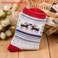 Weihnachten Deer Socken Frauen Herren Cartoon Design Casual Stricken Wolle Socken Männer Winter Warme Shorts Söckchen Meias Calcetines