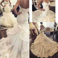 Wholesale mermaid ruffle chapel wedding dress for sale - Group buy 2019 New Chapel Train Mermaid Wedding Dresses Sexy Spaghetti Straps Lace Sweetheart Bridal Gowns Ruffles Trumpet Dress vestidos de novia