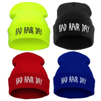 Wholesale Bad Women - Fashion colors new winter casual women hat bad hair days Knitted Soft Elastic skullies beanie hats for women men free Shipping