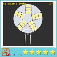 rv dolapları toptan satış-10x Mini G4 5730 15 LED Işık 12 V Avize Kristal 15led Lamba Ev Okuma RV Deniz Tekne Dolabı Araba İç Mısır Ampul Lamba
