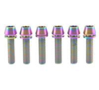 Wholesale Allen Head Bolts - 6Pcs Titanium Bicycle M5x20mm Tapered Hex Allen Head Rainbow Bolt with Washers