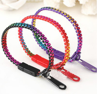 Wholesale Wholesale Zipper Bracelet - 19cm Mixed Colors New Product Spring Jewelry fluorescence Bracelets Men Cuff Bangles Womens Bracelet Zipper Bracelet Gifts