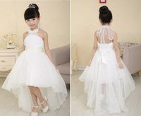 Wholesale Communion Dress Organza - Pretty Halter Flower Girls Dresses 2015 Beading Ball Gown Hi lo Length Good Quality Organza Pageant Dresses Spring Kids wedding Dresses R0