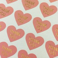 Wholesale Heart Car Sticker - 600PCS Lot Thank you LabelsThermoprinting Pink Color Heart-shaped Stickers Label Self-adhesive Sticker For Car Gift cup box toy