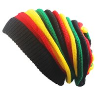 Wholesale rainbow knitted hat - Casual Skull Caps Rainbow Color Stripe Splicing Warm Hats Folds Melaleuca Slouchy Wool Knitted Beanie For Men And Women 8jb B