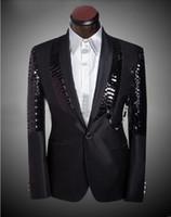 Wholesale Three Piece Dress For Males - Male Prom Men Business Suit Custom Sequined Dress Groom Suits Mens Tuxedo Wedding Suits For Men Slim Fit Suit Man Plus Size