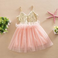 Wholesale Pleat Cyan - Cheap 2016 New Baby Girls Summer corset Sequin Tulle Princess Dresses Children Cute Ruffle Tutu Evening party vest Dress Kids Clothes