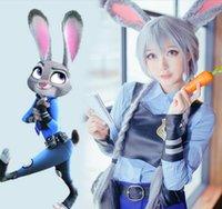 Wholesale Hot Rabbit Dresses - 2016 Hot sale sexy Zootopia Cartoon Utopia Figure Crazy Animal City cosplay dress bunny rabbit Judy cos clothes