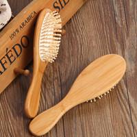 saç için bambu fırçaları toptan satış-Toptan Ucuz Fiyat Doğal Bambu Fırça Sağlıklı Bakım Masaj Saç Combs Antistatik Detangling Hava Yastığı Saç Fırçası Saç Şekillendirici Aracı