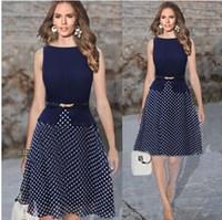 Wholesale Asymmetrical Chiffon Dress Xxl - Fashion Newest Lady Arm Empire Waist Dot Wear Contrasting Colors for Work Elegant Cut Dress with Belt Plus Size S-XXL