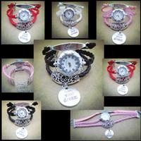 Wholesale Watch For Women Handmade - Handmade Love Leather Bracelet Pendant Watch Infinity Watches Vintage Bracelet Wrapped Watches Wrist Watches For Women