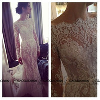 Wholesale Saab Wedding Dresses Sleeve - 2016 Elie Saab Full Lace Long Sleeve Sheath Wedding Dresses Amazing Detailing Backless Illusion Sleeve Steven Khalil Wedding Dress